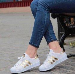 Adidas Superstar Gold Şeritli Beyaz Bayan Ayakkabısı