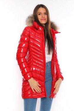 Moncler Bayan Uzun Mont Kırmızı (Parlak ve Çapraz)